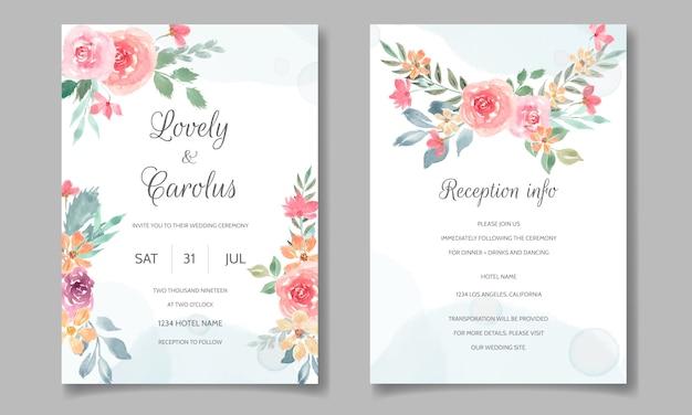 Karta zaproszenie na ślub z piękną akwarelą kwiatowy