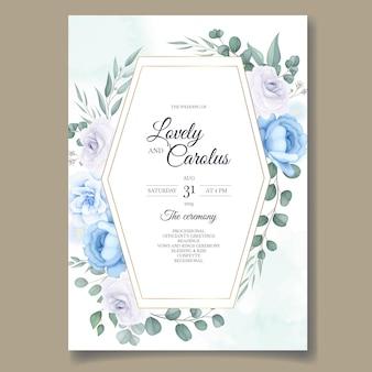 Karta zaproszenie na ślub z piękną ręką rysować kwiatowy