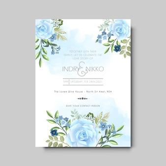 Karta zaproszenie na ślub z pięknym i artystycznym kwiatowym
