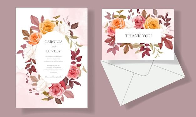 Karta zaproszenie na ślub z pięknym kwiatem i liśćmi jesienią