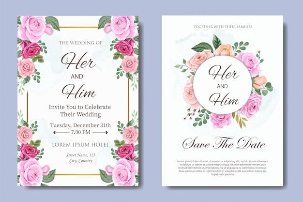 Karta zaproszenie na ślub z pięknym kwiatem i liśćmi
