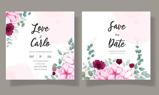 Karta zaproszenie na ślub z pięknym kwiatem magnolii