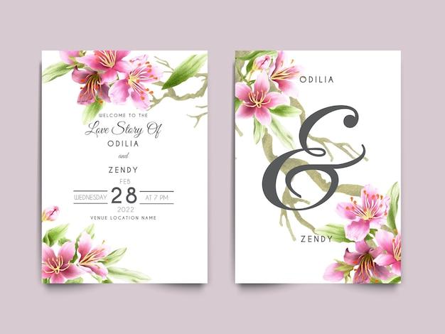 Karta zaproszenie na ślub z pięknym kwiatem wiśni