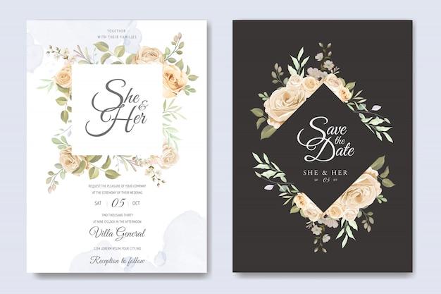 Karta zaproszenie na ślub z pięknym kwiatowy i liści