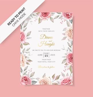 Karta zaproszenie na ślub z pięknym kwiatowym