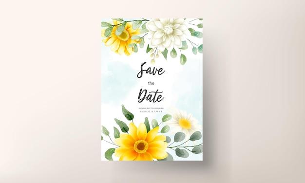 Karta zaproszenie na ślub z pięknym kwitnącym kwiatem stokrotki szablonem