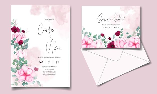 Karta zaproszenie na ślub z pięknym kwitnącym kwiatem