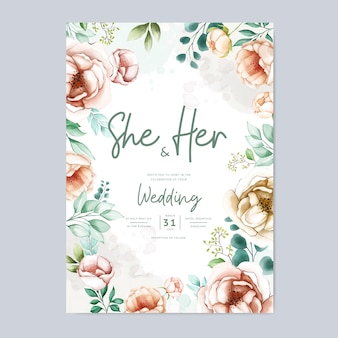 Karta zaproszenie na ślub z pięknym szablonem akwarela kwiaty