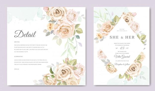 Karta zaproszenie na ślub z pięknym szablonem kwiatowy i liści