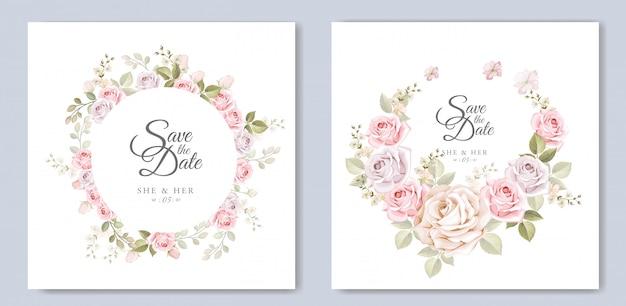 Karta zaproszenie na ślub z pięknym szablonem kwiatowym