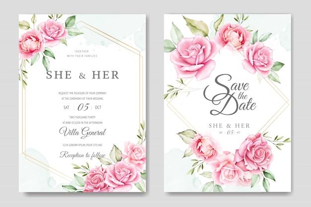 Karta zaproszenie na ślub z pięknym szablonem róż
