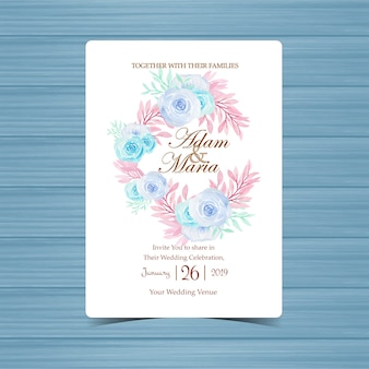 Karta zaproszenie na ślub z pięknym wieniec kwiatowy