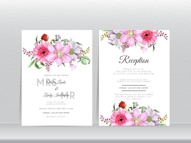 Karta zaproszenie na ślub z pięknym wzorem kwiatu stokrotki