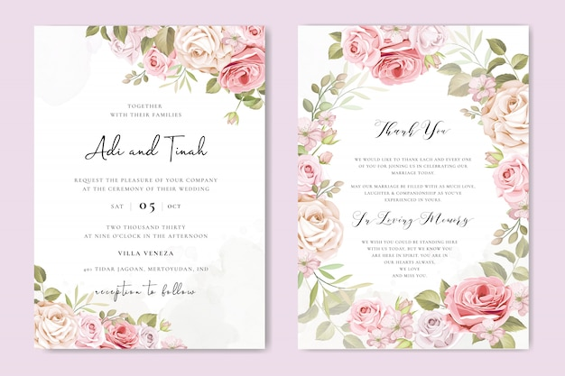 Karta zaproszenie na ślub z pięknymi kwiatami i liśćmi