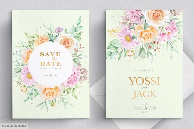 Karta zaproszenie na ślub z pięknymi kwiatami