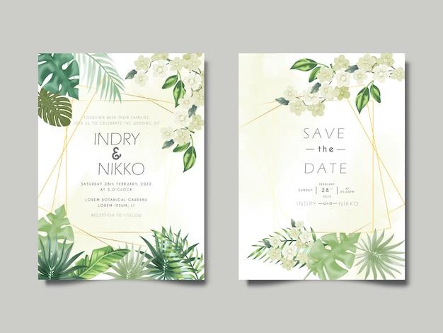 Karta zaproszenie na ślub z pięknymi liśćmi tropikalnymi