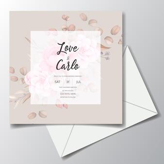 Karta zaproszenie na ślub z pięknymi ornamentami kwiatowymi