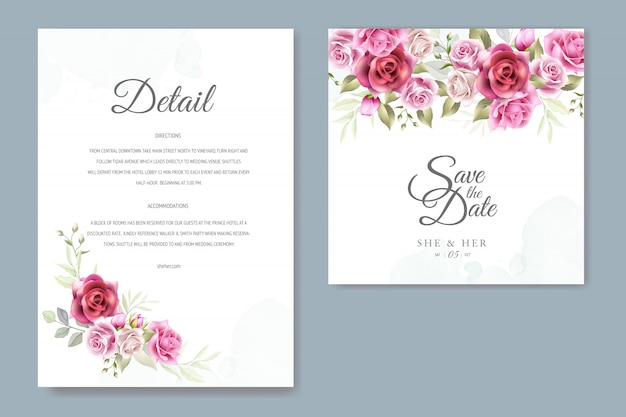 Karta zaproszenie na ślub z pięknymi różami i liśćmi