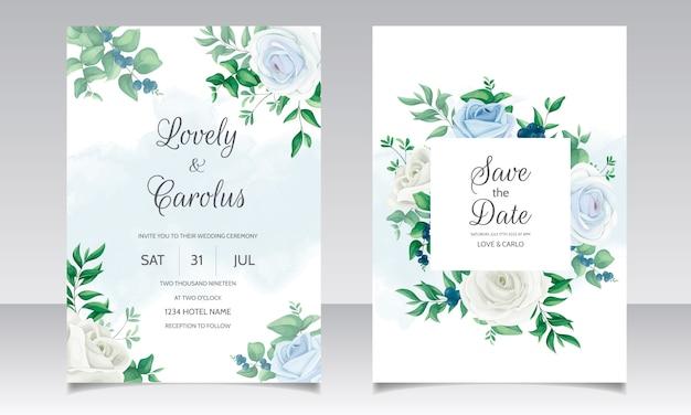 Karta zaproszenie na ślub z pięknymi różami, liśćmi zieleni i jagodami