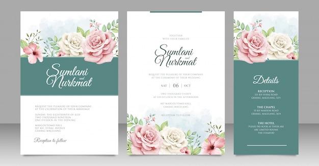 Karta zaproszenie na ślub z pięknymi różami
