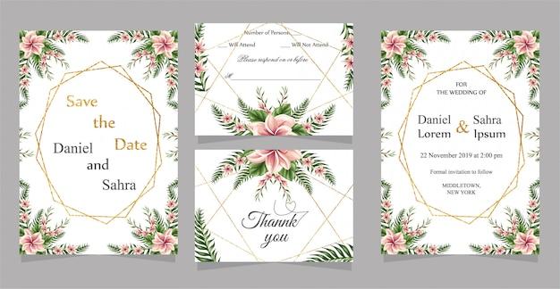 Karta zaproszenie na ślub z podziękowaniami i kartą rsvp