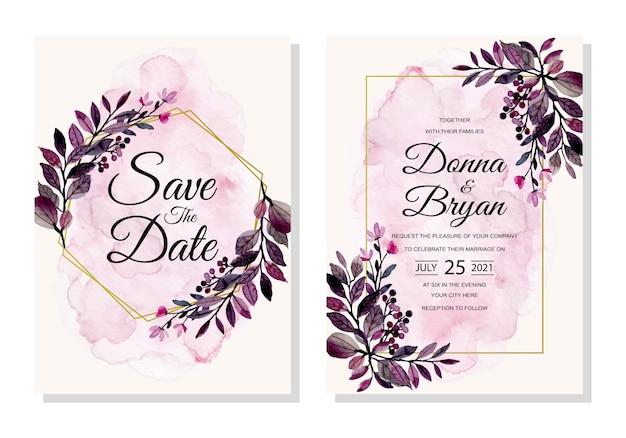 Karta zaproszenie na ślub z purpurowe liście akwarela streszczenie