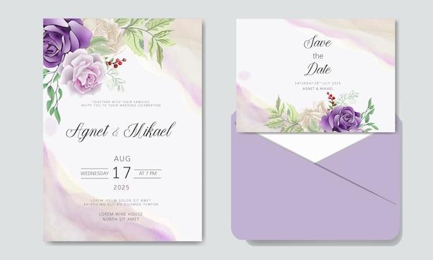 Karta zaproszenie na ślub z romantycznymi szablonami kwiatów