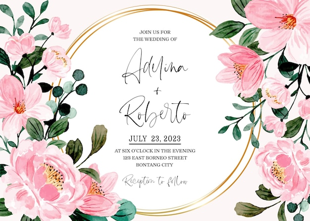 Karta zaproszenie na ślub z różową akwarelą kwiatowy