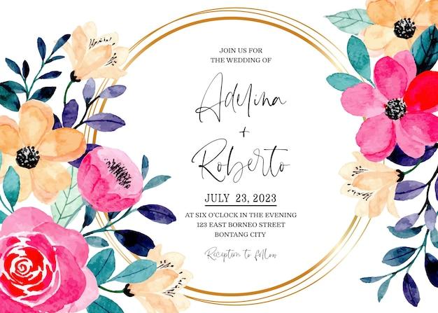 Karta zaproszenie na ślub z różową brzoskwinią kwiatowy akwarela