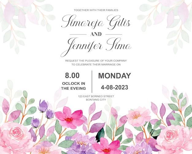 Karta zaproszenie na ślub z różowy kwiat akwarela
