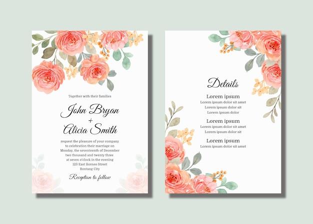 Karta zaproszenie na ślub z różowymi różowymi różami akwarela