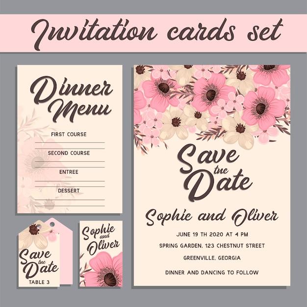 Karta zaproszenie na ślub z szablonami kwiatów.