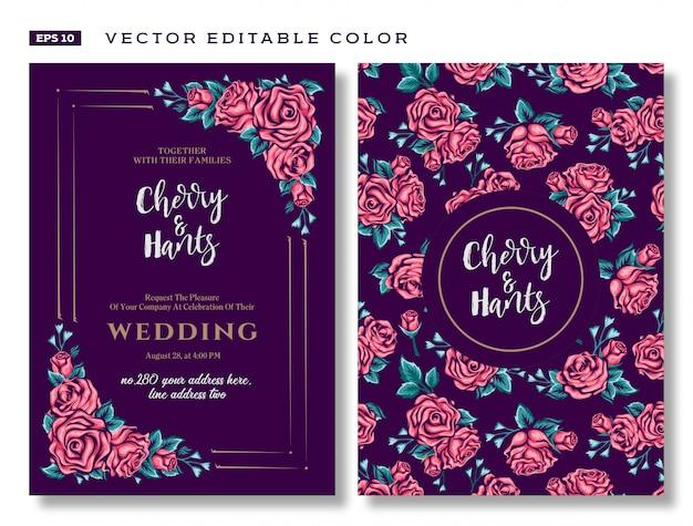 Karta zaproszenie na ślub z szablonami stokrotek