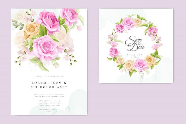 Karta zaproszenie na ślub z szablonem żółte i różowe róże