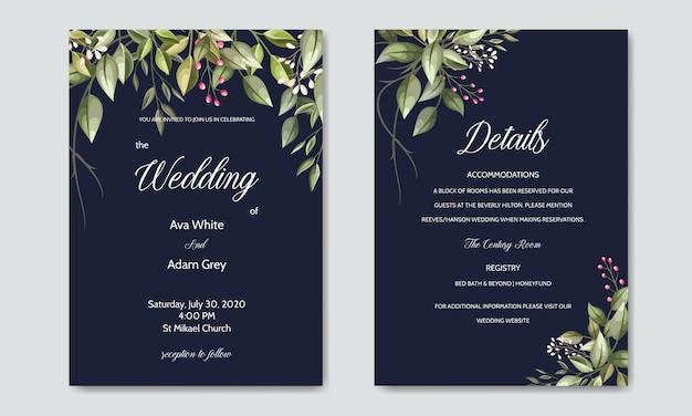Karta zaproszenie na ślub z zielonych liści szablon