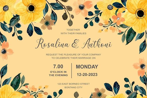 Karta zaproszenie na ślub z żółtą kwiatową akwarelą