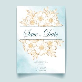 Karta zaproszenie na ślub, zapisać datę z tła akwarela, złote kwiaty, liście i gałęzie.