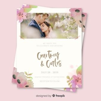 Karta zaproszenie na ślub ze zdjęciem