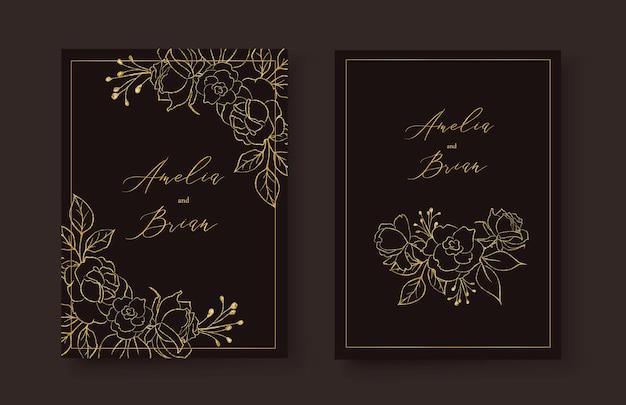 Karta zaproszenie na ślub ze złotą różą w stylu kwiatów flowers