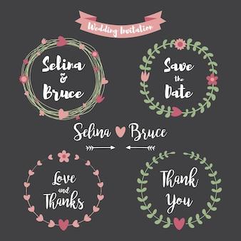 Karta zaproszenie na ślub. zestaw kwiatowy rama dziękuję karty, zaproszenia ślubne, kartki urodzinowe, litery kaligraficzne, godło i etykiety. elementy projektu ślub w stylu tablicy.