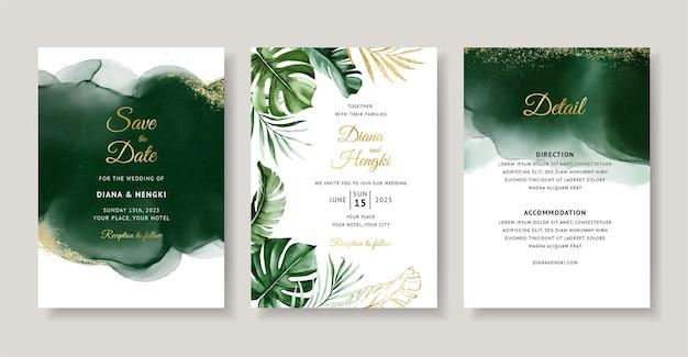 Karta zaproszenie na ślub zielony akwarela