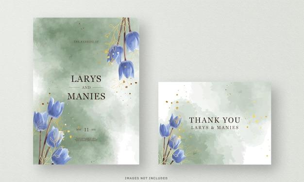 Karta zaproszenie na ślub zielony z akwarelą kwiat lilii