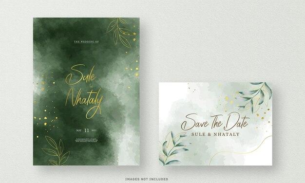 Karta zaproszenie na ślub zielony z akwarela kwiat