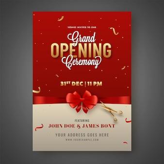 Karta zaproszenie na uroczyste otwarcie zamknięte czerwoną kokardą wstążką i złotymi nożyczkami