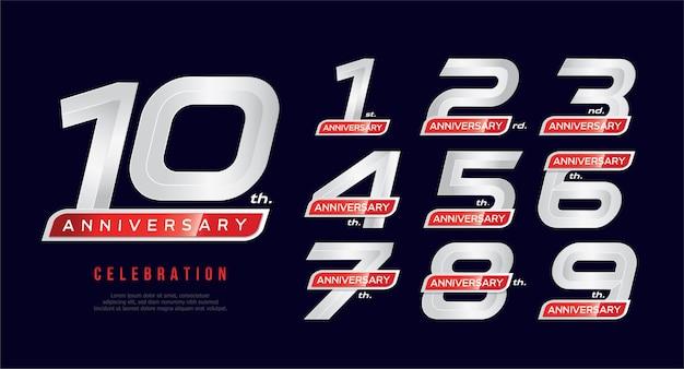 Karta zaproszenie od 1 do 10 lat rocznica, szablon uroczystości