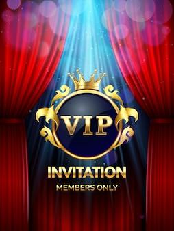 Karta zaproszenie premium. impreza vip zaprasza ze złotą koroną i otwartymi czerwonymi zasłonami. szablon uroczyste otwarcie baner