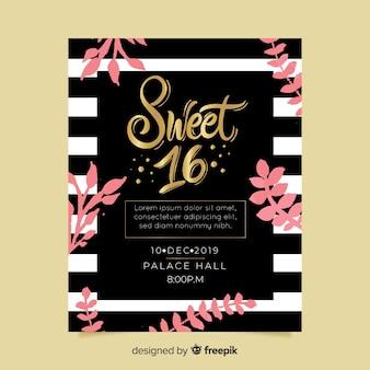 Karta zaproszenie słodkie szesnaście party