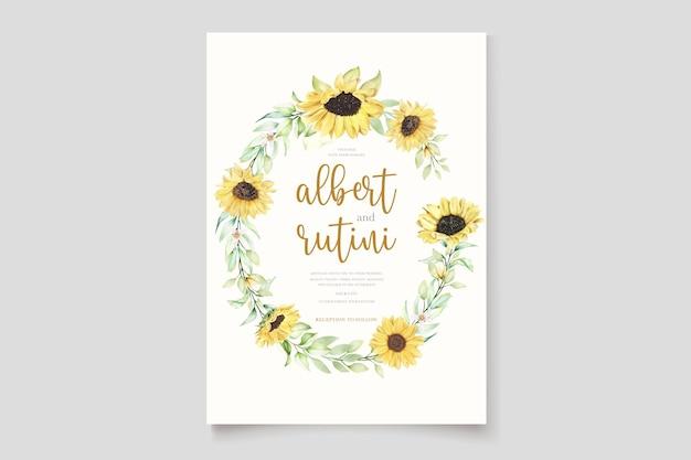 Karta zaproszenie słonecznika akwarela
