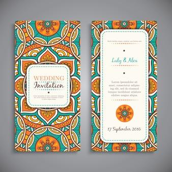 Karta zaproszenie ślubne vintage elementy dekoracyjne ręcznie rysowane tła