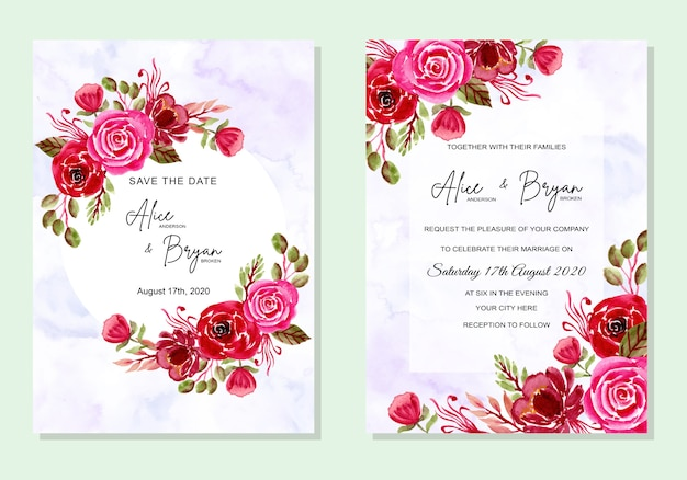 Karta zaproszenie ślubne z akwarela kwiaty
